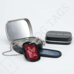 Vojenské identifikační psí známky hliníkové na krk - různé barvy, US Military Dog Tags Set Aluminium - 345642