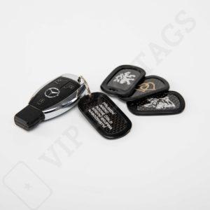 Identifikační psí známka karbonová s vlastním textem nebo motivem na klíče, US Original Carbon Dog tag Single for your keys - 13876